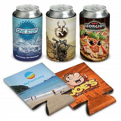 Dye sublinated promotion items including stubby holders in colour designs
