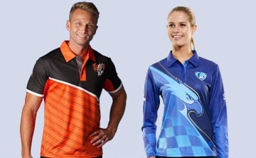 A pair of men in sports style dye sublimated shirts