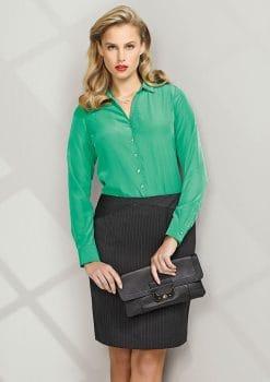 Ladies-Chevron-Band-Skirt-Pinstripe-1115