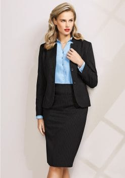 Ladies-Short-Jacket-with-Reverse-Lapel-Pinstripe-1115