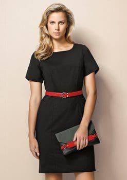 Ladies-Short-Sleeve-Shift-Dress-Wool-Stretch-1115