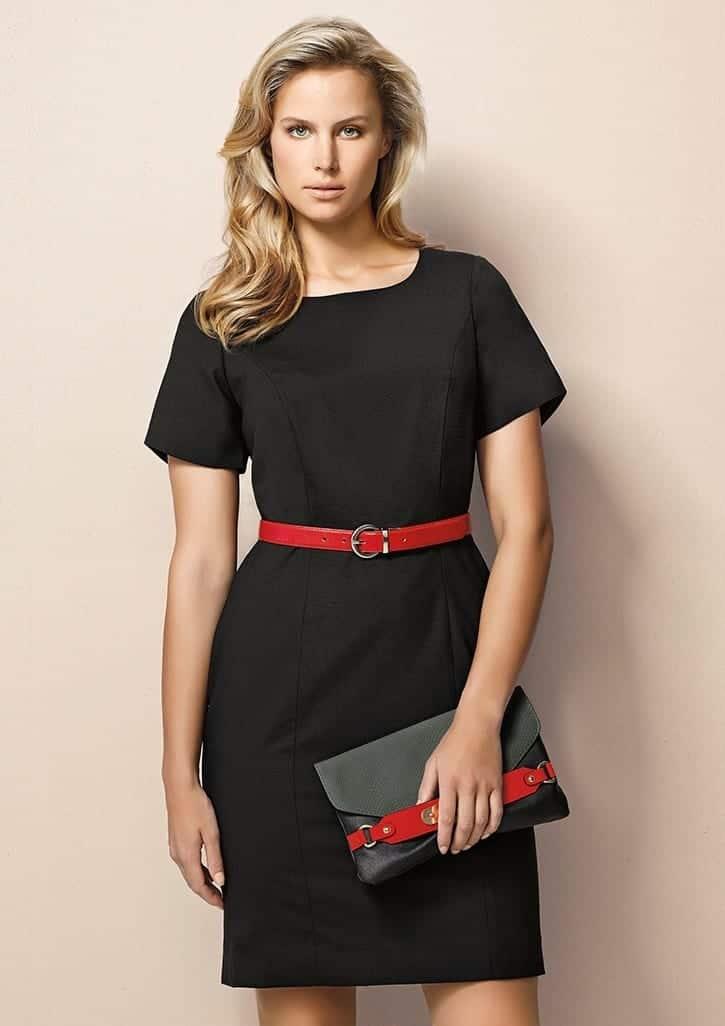 Ladies Short Sleeve Shift Dress - Wool Stretch 669f35a64f21b