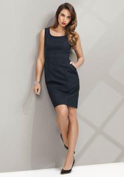 Ladies-Sleeveless-Side-Zip-Dress-Pinstripe-1115